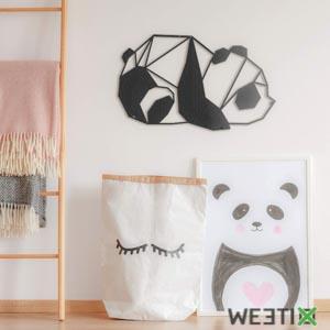 Décoration murale panda en métal noir