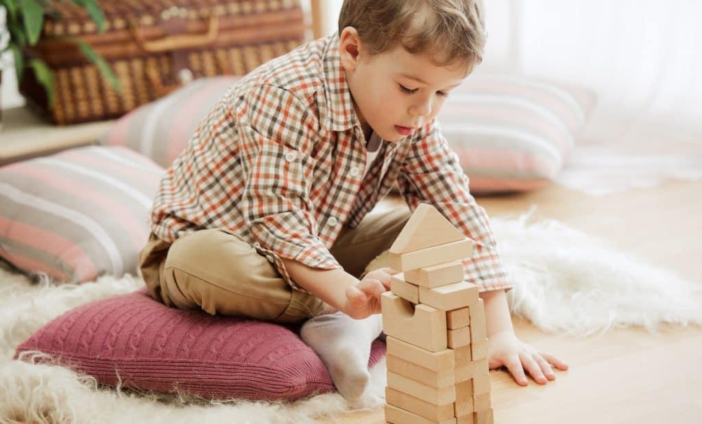 petit garçon jouant des jouets en bois